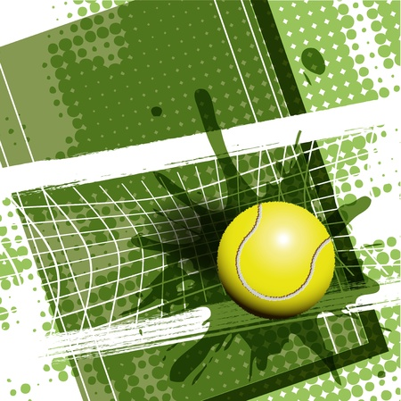 tennis net: illustration, tennis ball on abstract green background