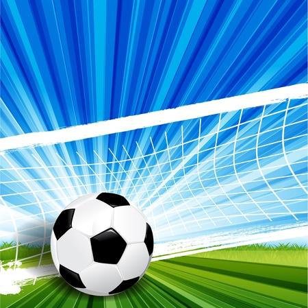 Ilustración, balón de fútbol de cuero sobre hierba verde Vectores