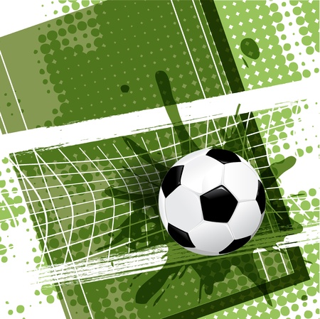 illustration, soccer ball on abstract green background Vector