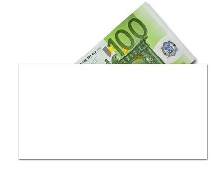takings: denomination of one hundred euros in paper envelope Stock Photo