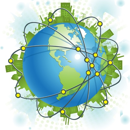 peace pipe: abstract illustration, green civilization on blue planet