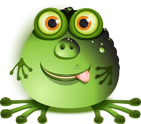 illustration, merry green monster with greater eye Vector