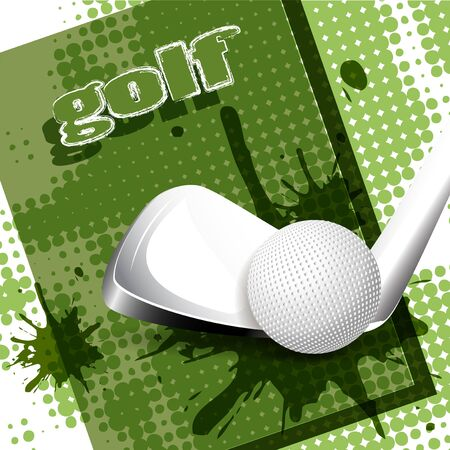 illustration, ball for golf on field for golf Vector