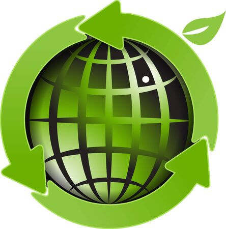 green environment: illustration, abstract blue globe with green arrows