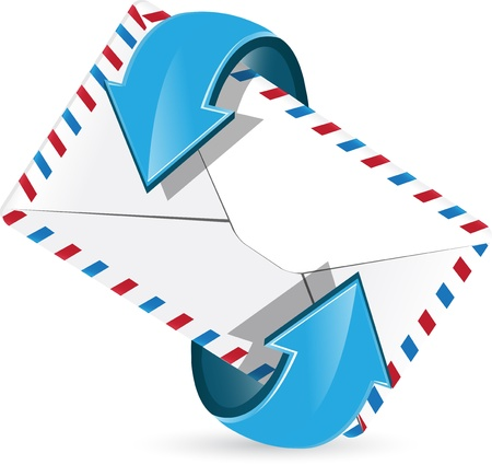 posted: abstract illustration, blue arrow around postal envelope