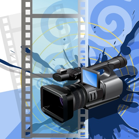 Illustration, video camera  on background of the film Vector