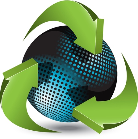 recycle symbol: Abstract illustration green round arrows around blue ball