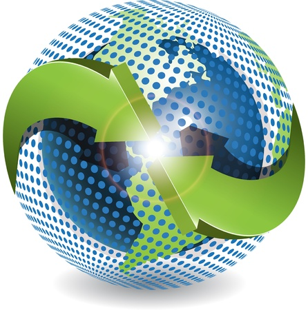Abstract illustration green round arrows around globe Illustration