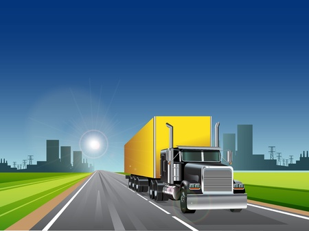 illustration, truck with long trailer on road Stock Vector - 10328406