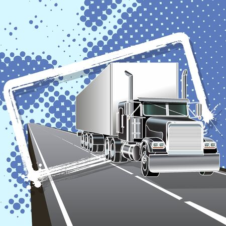 illustration truck with long trailer on road Stock Vector - 10362934