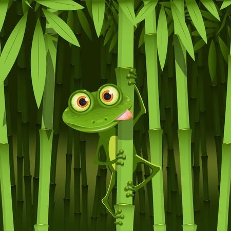 meraklı: illustration, curious frog on stem of the bamboo Çizim