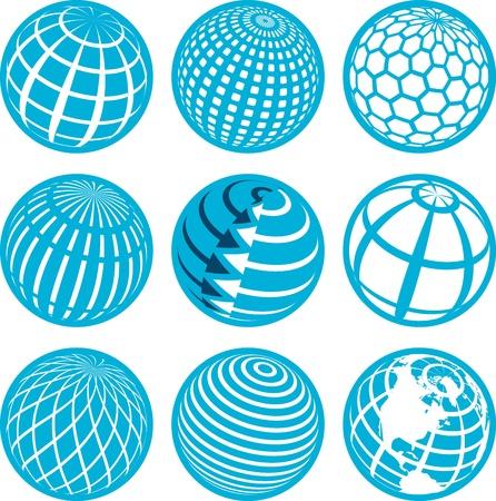 globe icon: illustration, nine blue symbols of the planet on white background Illustration