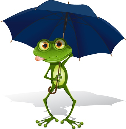 triton: illustration, green frog with blue umbrella on white background