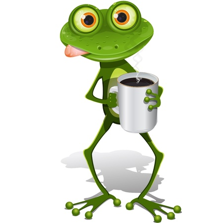 morning coffee: illustration, green frog with cup hot coffee Illustration