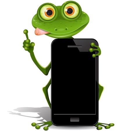 illustration, green frog with black cellular telephones