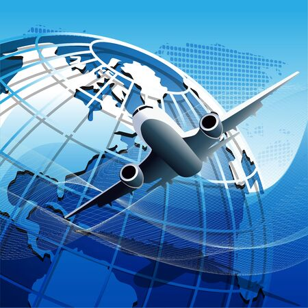 Illustration, plane on blue globe on blue background