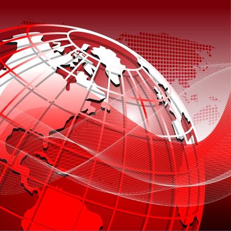 globo terraqueo: ilustraci�n, mundo abstracto de color rojo sobre fondo rojo