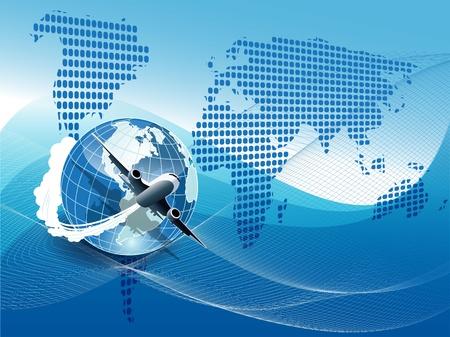 Illustration, plane on blue globe on blue background