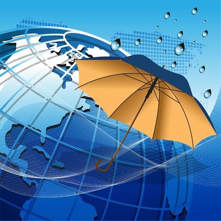 illustration texture globe under the umbrella on net like blue background Stock Vector - 10671175