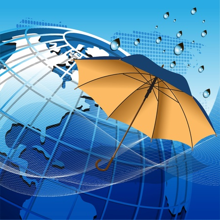 illustration texture globe under the umbrella on net like blue background Stock Vector - 10671175