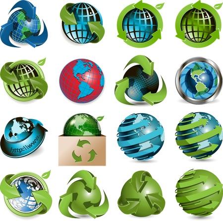 planisphere: sedici icone del globo su sfondo bianco