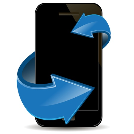 phone system: illustration, black mobile phone and blue arrows