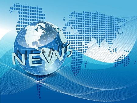 world news: illustration texture globe on net like blue background