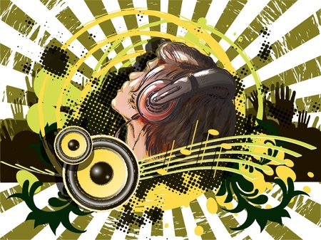 music dj: abstract illustration of a DJ on the background pattern