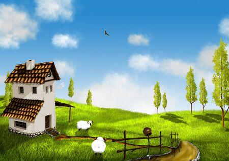 ilustración, paisaje con casa y ovejas blancas