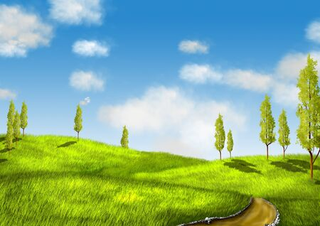 land development: illustration, landscape with green field and trees
