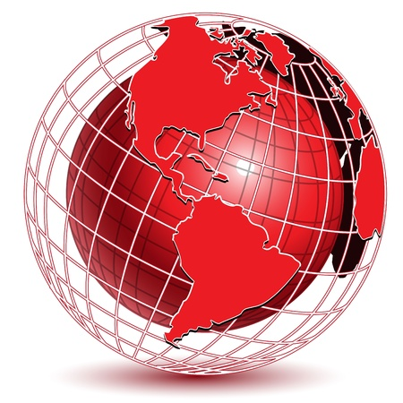 globo terraqueo: ilustraci�n mundo abstracto de color rojo sobre fondo blanco