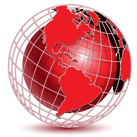 illustration abstract red globe on white background Illustration