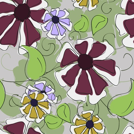 Seamless texture illustration with flowers and leaves Vector