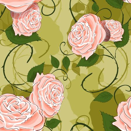 material flower: Seamless texture illustration with flowers and leaves