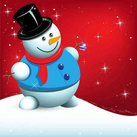 illustration, snowman with ball on red background Vector