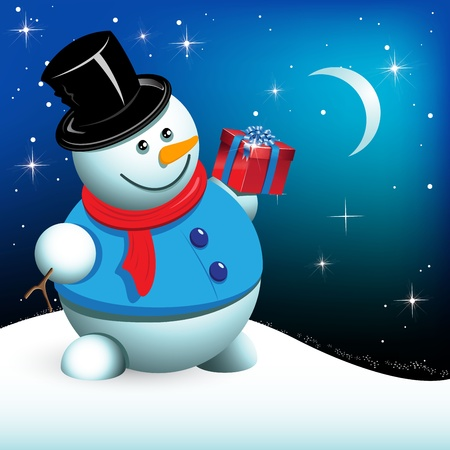 illustration, snowman with gift on background night sky Vector