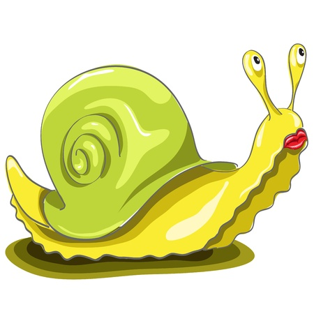 abstract illustration, a sad snail on a white background