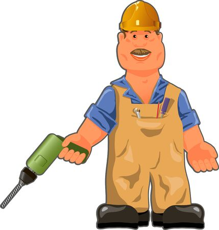 cartoon clothes: illustration, cheerful worker in overalls with a drill Illustration