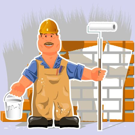 illustration, a painter with a roller and white paint Vector
