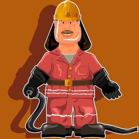 water hose: illustration, a firefighter with a water hose Illustration
