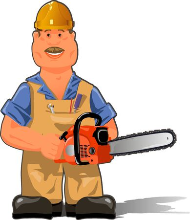 woodsman: illustration, a worker in overalls with a chainsaw Illustration