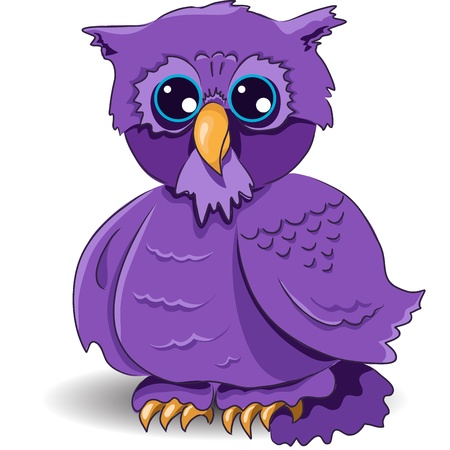 illustration, of a cartoon owl with surprised by glance Vector