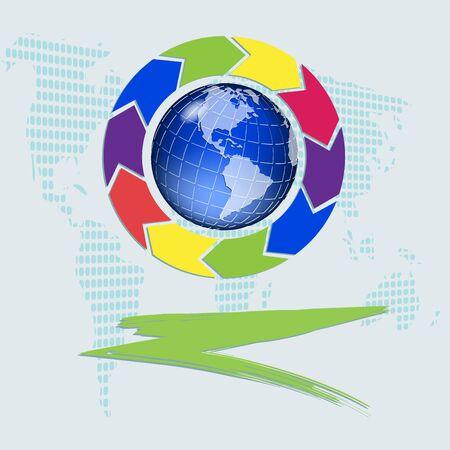 versicolor: illustration, abstract blue globe with versicolor arrows