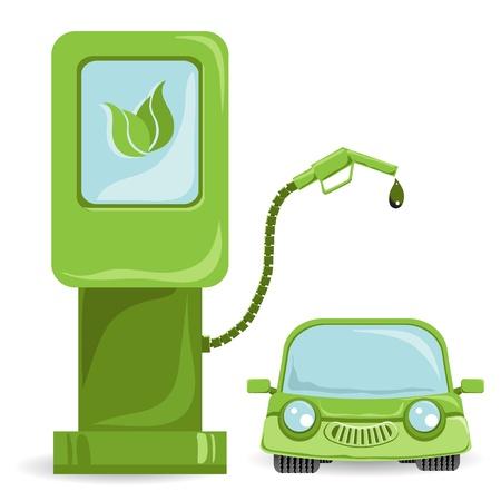 ilustración, coche biocombustible con combustible bio Ilustración de vector
