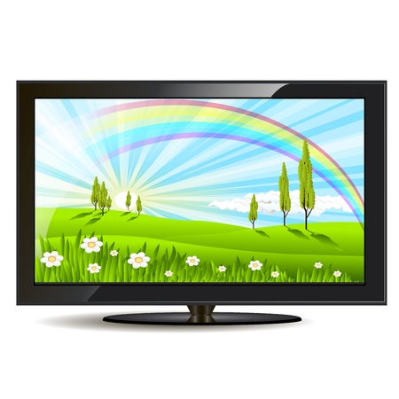 land development: illustration, modern black television set on white background Illustration