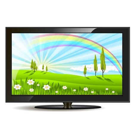 set de television: ilustraci�n, conjunto moderno de televisi�n negro sobre fondo blanco Vectores