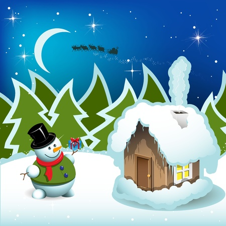 illustration, snowman and house with smoke on background wood Vector