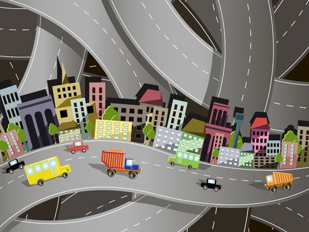 truck on highway: abstract illustration of a city on the background of the site roads