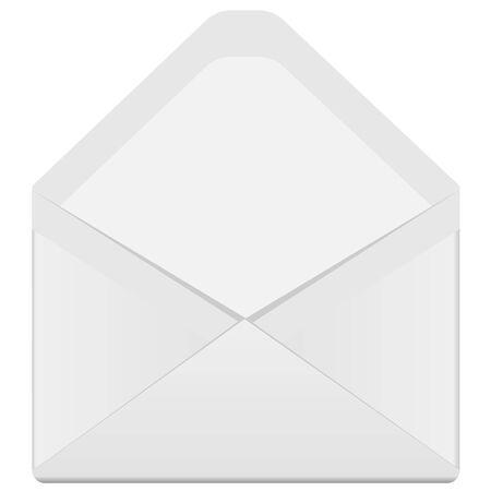 posted: illustration, white open envelope on a white background Illustration