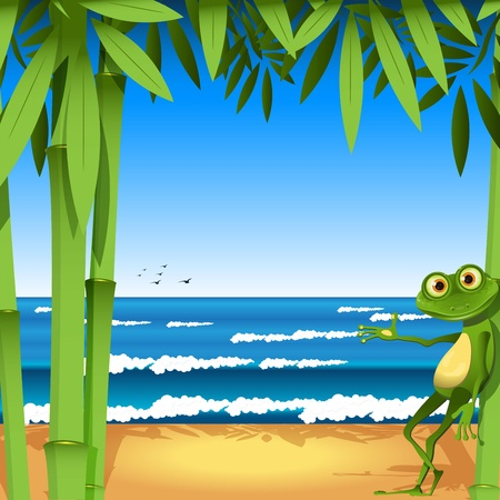Illustration, a frog on sandy to seacoast